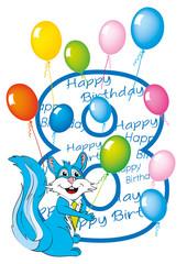buon compleanno bambino numero 8 con scoiattolo