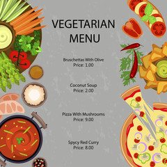 Vegetarian restaurant menu template with different dishes and salates. Vector illustration eps 10