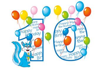 buon compleanno bambino numero 10 con scoiattolo
