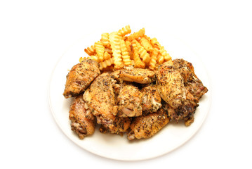 Italian Spiced Chicken Wings Served with Fries