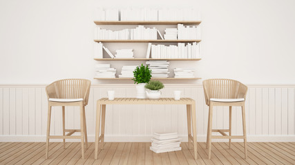 dining area and library in restaurant or cafe - 3D Rendering