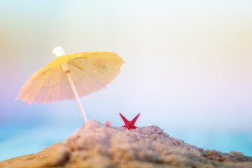 starfish in the sand on a background of blurred sun loungers