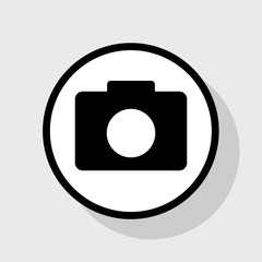 Digital camera sign. Vector. Flat black icon in white circle with shadow at gray background.