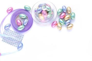 Handmade decoration with chocolate eggs