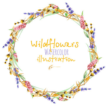 Wreath, circle frame border with yellow dry wildflowers, lupine and lavender flowers, hand drawn in watercolor on a white background