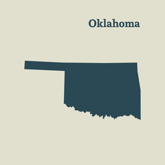 Outline map of  Oklahoma. vector illustration.