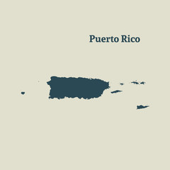 Outline map of  Puerto Rico. vector illustration.