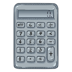 Vector Cartoon Calculator on White Background