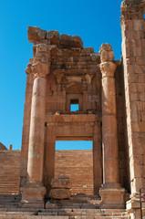 Jerash, Giordania, 04/10/2013: la Cattedrale, ex Tempio di Dioniso ricostruito nel IV secolo come chiesa bizantina nell'antico sito archeologico di Gerasa