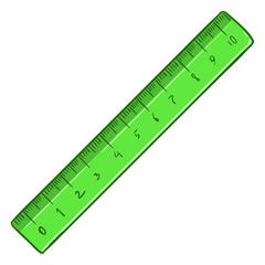 Vector Cartoon Single Ruler on White Background