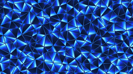 Colored abstract geometric background. 3D illustration..Polygonal glossy surface. Glowing structure.