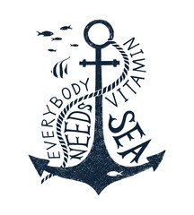 Hand drawn label with an anchor and lettering