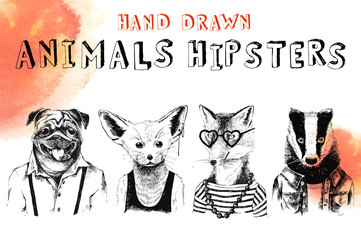 Hand drawn animals hipsters set
