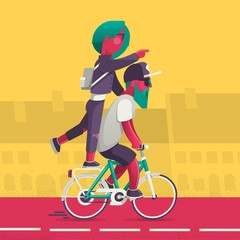 vector background with hipsters on a bike