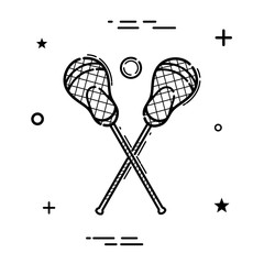 Simple black linear lacrosse icon. Lacrosse sign on white background. Vector illustration