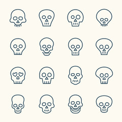 Skull line icon set