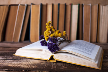 Old books with pen on the wooden table, white candle, dry flowers, many books on background