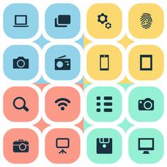 Vector Illustration Set Of Simple Technology Icons. Elements Save, Schedule, Camcorder And Other Synonyms Layout, Report And Schedule.
