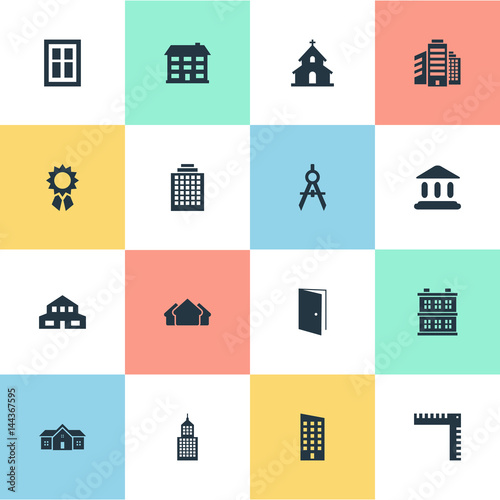 Vector illustration set of simple architecture icons for Architecture synonym