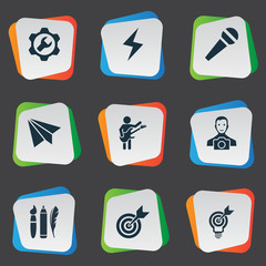 Vector Illustration Set Of Simple Creative Thinking Icons. Elements Accuracy, Cameraman, Energy And Other Synonyms Target, Darts And Send.