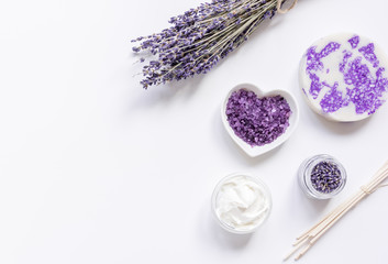 lavender flowers in organic cosmetic set on white background top view mock-up