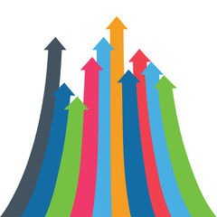 Infographic vector arrow. Arrows of growth, success, sales volume increase, demographic increase. 3D simple background for your presentation.