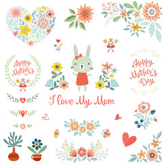 Mother's Day collection with typographic design elements. Cute bunny, flowers, branches, wreath, floral heart, butterflies, plant pots and vases. Vector illustration.
