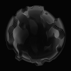 Abstract vector grayscale mesh sphere on dark background. Futuristic style card. Elegant background for business presentations. Monochrome corrupted point sphere. Chaos aesthetics.