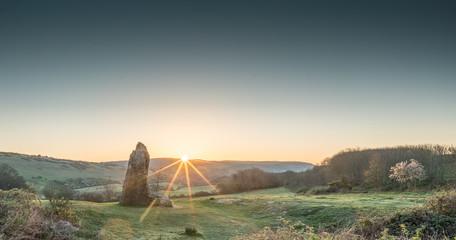 Sunrise at the Long Stone, Mottistone, Isle of Wight