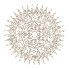 Flower Mandala vector illustration. Oriental pattern, vintage decorative elements. Round floral ornament pattern. Design element in Indian Mehndi style. Vector illustration