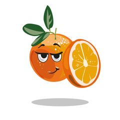 Orange character with smart look and half cut orange