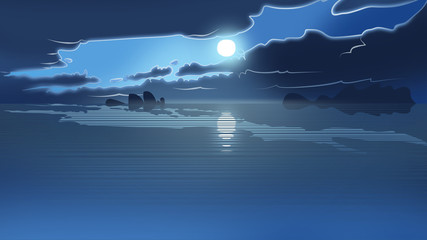 cartoon illustration of cloudy day on the sea.