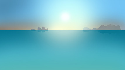 cartoon illustration of sunny morning on the sea