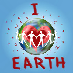 World Earth Day - 22nd of April - abstract background illustration, planet Earth with I love Earth inscription