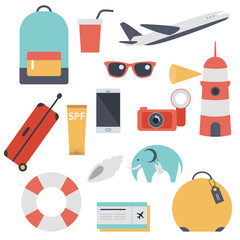 Travel kit, collection of touristic things. Flat vector cartoons.