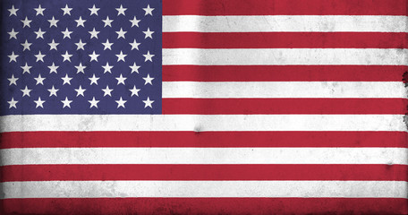 Flag of United States of America with and old, vintage style