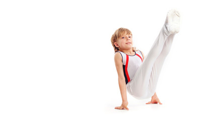 Printed roller blinds Gymnastics Happy little boy doing gymnastics isolated on white background