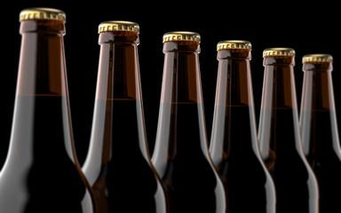 Close up beer bottles. 3D render, studio light, on black background