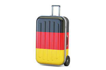 Germany travel concept, suitcase with German flag. 3D rendering