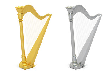 Golden and Silver Harps, 3D rendering