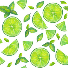 Summer green background. Lime slices and mint leaves seamless pattern. Watercolor hand drawn bright cocktail color mojito seamless texture with tropical natural organic citrus slices on white