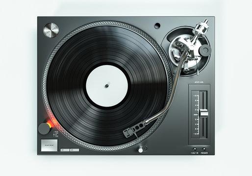 Schallplatte dreht sich auf einem professionelle Plattenspieler