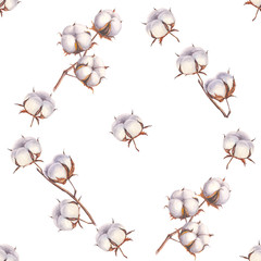 Watercolor cotton branches seamless pattern on white background