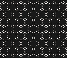 Vector monochrome seamless pattern, subtle geometric texture with tiny floral figures, flat leafs. Abstract minimalist black & white background. Dark stylish design for decor, prints, textile, cover