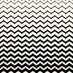 Vector monochrome texture, black & white seamless pattern with curly zigzag lines. Abstract geometric background. Halftone transition effect. Smooth stripes, repeat tiles. Design for decor, cover, web
