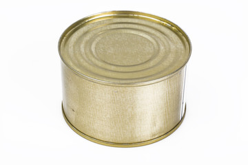 Closed metal can with fish or canned meat
