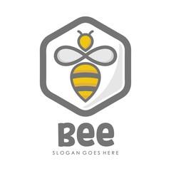 Bee and honey logo full vector