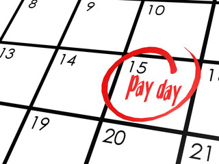 Pay day word on calendar