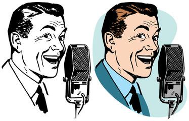 A smiling man speaking into a vintage microphone