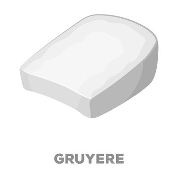 Gruyere.Different kinds of cheese single icon in black style vector symbol stock illustration web.